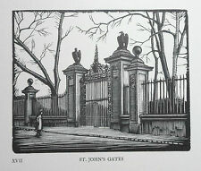 ST JOHN'S GATES : Rare Art Deco CAMBRIDGE COLLEGE WOODCUT By GREENWOOD C1926