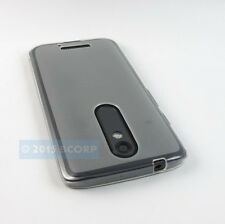 FOR MOTOROLA DROID TURBO 2 FROSTED CLEAR FLEXIBLE TPU GEL SKIN CASE COVER