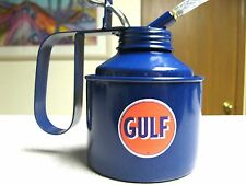 12oz THUMB LEVER PUMP GULF TRUCK FARM TRACTOR RACING GAS GASOLINE OILING OIL CAN