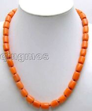 "Sale 10-11mm Pink Thick Slice GENUINE NATURAL Coral 18"" Necklace-nec5166"
