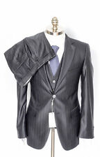 PAL ZILERI Black Pinstripe Wool Silk 3PC Tuxedo Suit 60 8R 50 50R fits 48L NWT!