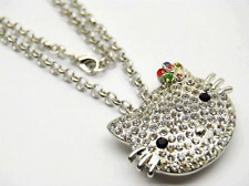 Large Hello Kitty Clear Austrian Crystal Necklace  Red Pink Multi Color Flower