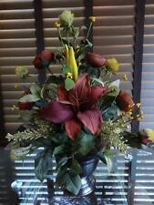 Silk Floral Arrangement Rust Lilies and Ranunculus Yellow Flowers Brown Vase