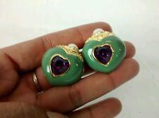 Stunning vtg. Joan Rivers green enamel purple faux pearl crystal clip earrings