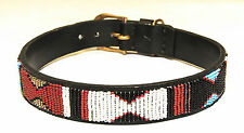 "X-Small  1.5"" wide Dog Collar hand beaded 15"" fits 11 1/2"" to 13 1/2"" neck size"