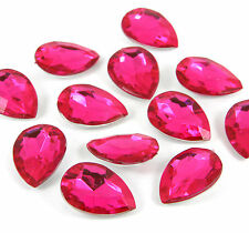 10 x Fuchsia PEAR strass chaton cabochons 18mm cristaux decoden