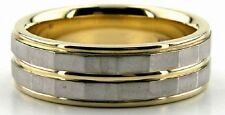 18K GOLD TWO TONE MENS WEDDING BAND RING 7MM TWO TONE MANS WEDDING BANDS RINGS