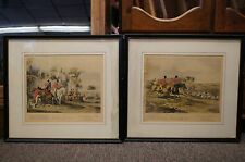 2 Antique Bachelors Hall Early 20th Century Fox Hunt Etchings Equestrian Artwork