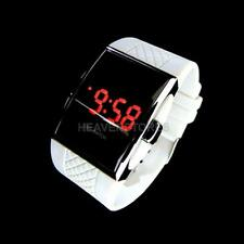 Lady Men Sports RED LED Digital White Watch Stainless Steel Wrist Watch Gift