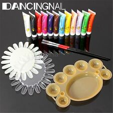 12 Colors Nail Art 3D Paint Painting Tube Pigment Acrylic + Brush Palette kit