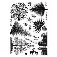 Crafty Individuals MINI CHRISTMAS TREES Multi Elements Rubber A6 Stamp CI-257