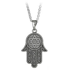 "Sterling Silver Hamsa Hand & Star of David Pendant on 18"" Chain Necklace"