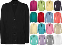 New Plus Size Womens Button Long Sleeve Pocket Top Ladies Knitted Cardigan 14-20