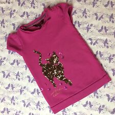TED BAKER GIRLS PINK TUNIC DRESS 3-4 Years Long Top Sequin Cat Embellishment CB