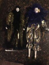 """(2) Porcelain Harlequin Jester Mardi Gras 17"""" Dolls~Gold/Blk & Blk/Blue Feathers"""