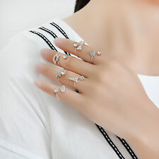 6PCS/Set Cute Urban Gold Plated Ring Crystal Plain Above Knuckle Band Midi Rings