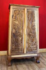 Akazien Holz Schrank massiv Drache geschnitzt Kommode Sideboard Highboard SUAR