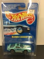 1992 Hot Wheels Blown Camaro Z28 Turquoise UH Wheels 1:64 Scale MOC