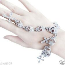 New Design huge skull Statement crystal chunky chain charm Glod Bracelet e960