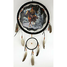 """13"""" Wolf Indian Horse Dream Catcher Wall Hang Decor Feathers Beads Gift DCB1324"""