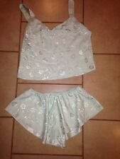 Women's Sz L Mint Green Polyester Babydoll Pajamas Set California Dynasty