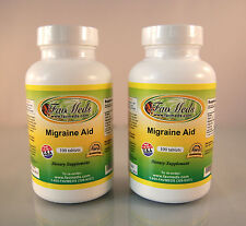 Migraine Aid ~ 200 (2x100) tablets, FeverFew Leaf, Natural Relief. Made in USA.