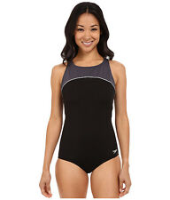 SPEEDO COLOR BLOCK HIGH ROUND NECK ONE PIECE SWIMSUIT BLACK GREY SIZE 14 NEW $88