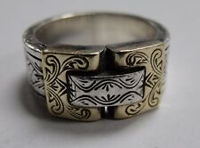 Konstantino Sterling Silver & 18k Yellow Gold Buckle Style Ring Size 8.5 #KR8565