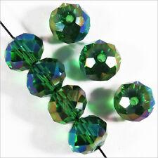 20 perles à Facettes Rondelles 8 x 6 mm en Cristal Vert Emeraude AB
