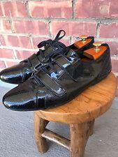 Men's ZARA patent Leather Shoes Double Strap Lace Up 45 / 11.5