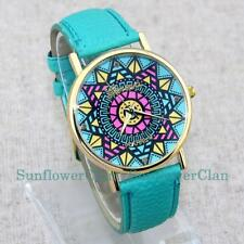 2015 Geneva Color Compassl Leather Band Lady Women Girl Quartz Dress Watches