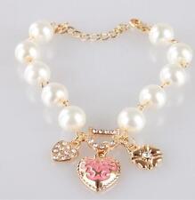 Ladies Girls Heart Flower Rhinestone Letter D Word Pearl Bracelet BU AU