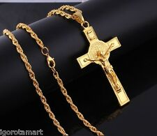18K Gold Plated Long Twisted Chain Necklace Large INRI Cross Crucifix Pendant
