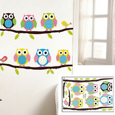 1 X Animal Cartoon Owl Tree Vinyl Wall Sticker for Kids Rooms Boys Girl Home
