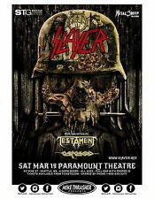 SLAYER / TESTAMENT /CARCASS 2016 SEATTLE CONCERT TOUR POSTER -Thrash Metal Music