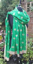 XL Fair Trade Green Embroidered Heavy Indian Sari Shawl Wrap Scarf Bohemian Boho
