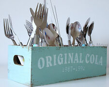 Original Cola Coke Wooden Storage Box Cutlery Utensil Holder Vintage Chic Shabby