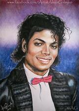 MICHAEL JACKSON BILLIE JEAN Original Colored Pencil Drawing Fine Arte MJ Porträt