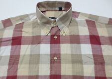 BURBERRY LONDON Red/Tan 100% Cotton Casual Dress Shirt M Medium USA NOVA CHECK