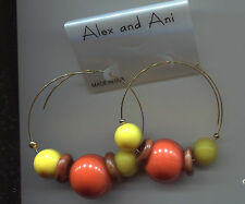 ALEX & ANI ENDLESS coral yellow wood beads earrings