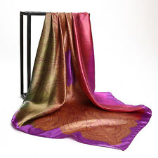 "Women's Purple Golden-Paisley Printed Satin Square Scarves Head Shawl 35""*35"""