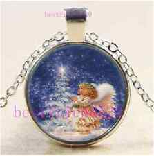 Christmas Angel Photo Cabochon Glass Tibet Silver Chain Pendant Necklace#A24
