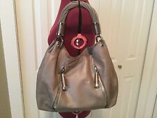 MICHAEL KORS Tonne Hobo Silver Metallic Pearlized Leather
