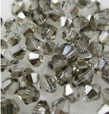 Free shipping 100pcs 4mm Loose Glass Crystal #5301 Bicone beads Plated gray #4