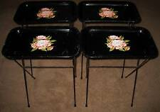 4 Vintage Mid Century KIDS SIZE Black Metal PEONY Flower TV Serving Trays w Legs