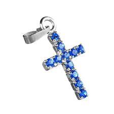 Kreuz Anhänger Kettenanhänger Echt Silber 925 Strass safir blau 16mm Firmung