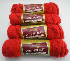 Fleisher's Win-Sport 100% DuPont Orlon Acrylic Yarn - 4 Skeins Color #450 Red