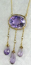 EDWARDIAN ANTIQUE 1890'S 14K GOLD LARGE AMETHYST PEARL NECKLACE