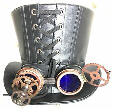 3D Mad Scientists Leather look top hat with  Blue Lens Goggle 61cm