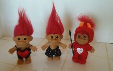 "Vintage LOT of 3 5"" Russ Troll Doll (s) Red Hair Red Sexy Lingerie Boxers Devil"